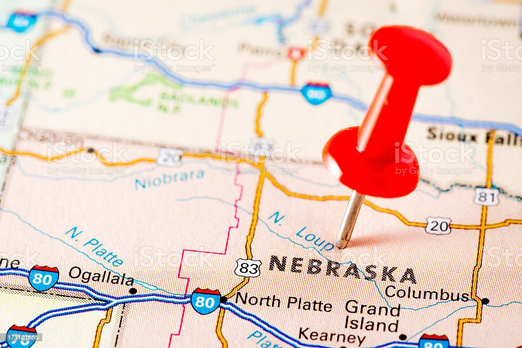 USA states on map: Nebraska stock photo
