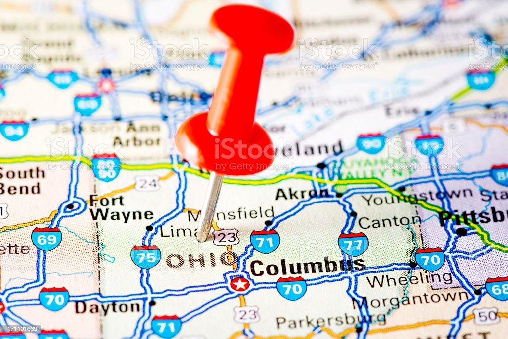 USA states on map: Ohio royalty-free stock photo