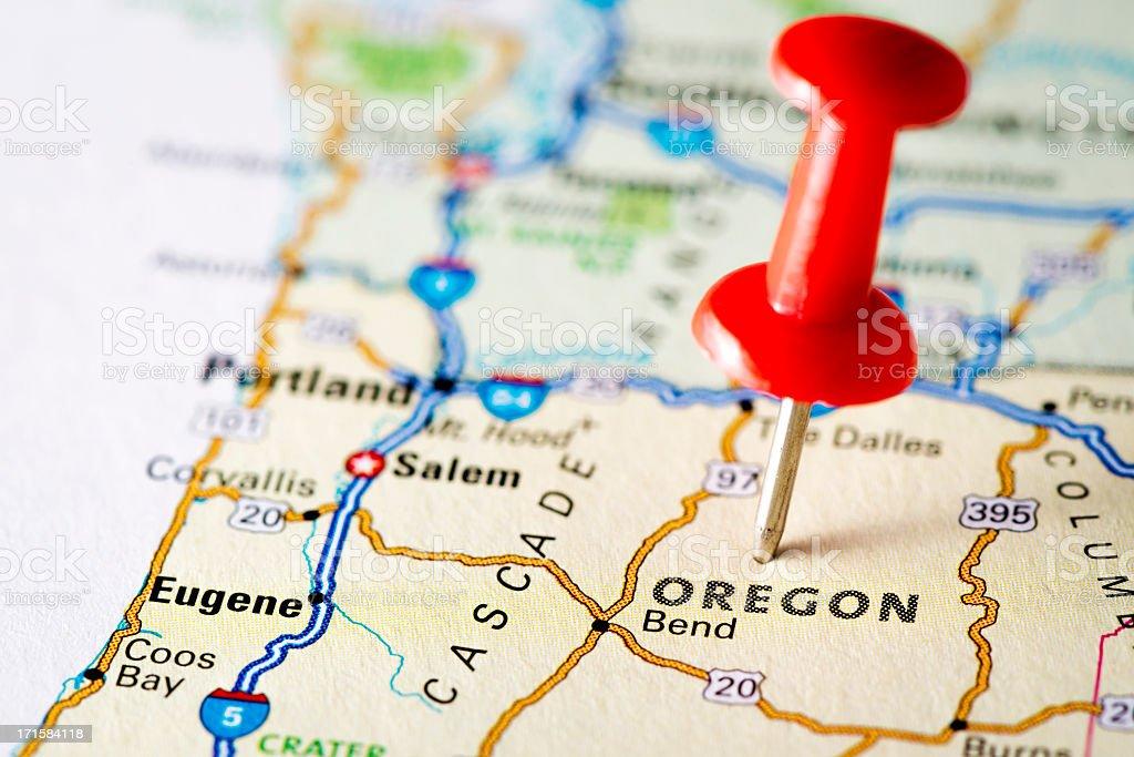 USA states on map: Oregon royalty-free stock photo
