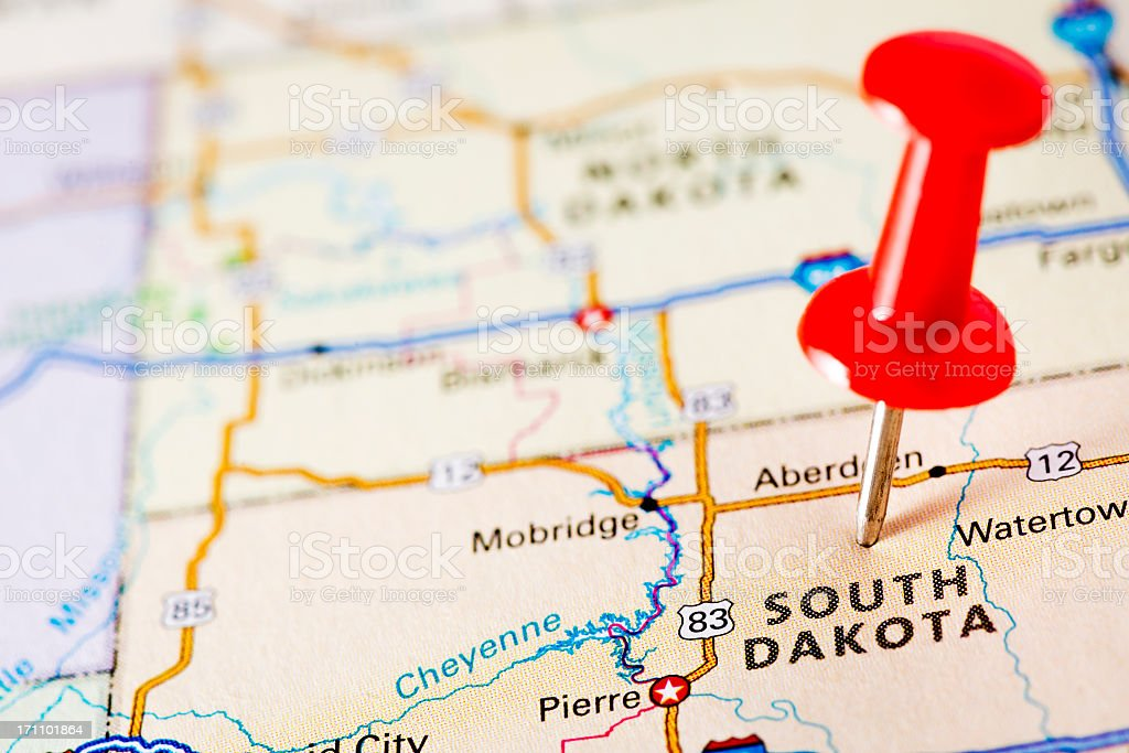 USA states on map: South Dakota stock photo