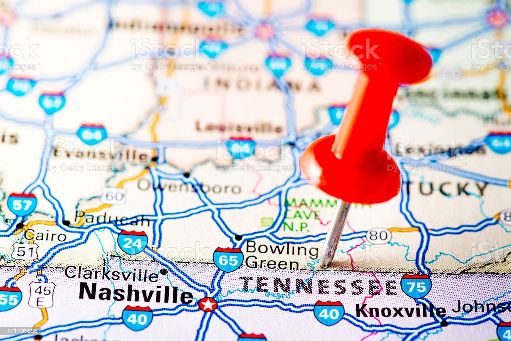 USA states on map: Tennessee royalty-free stock photo