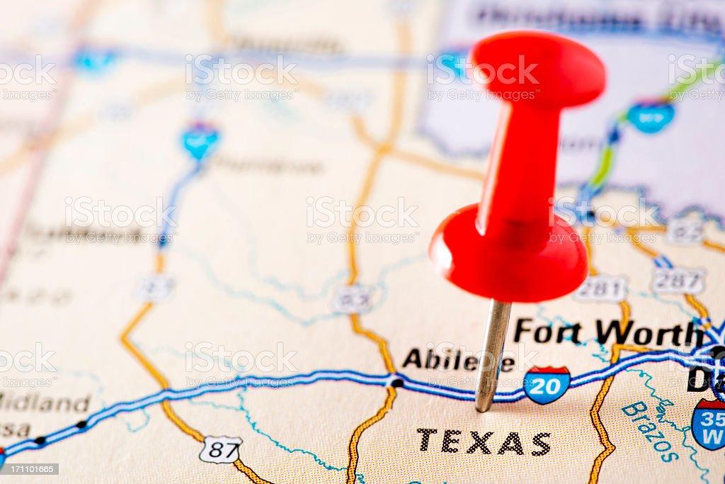 USA states on map: Texas royalty-free stock photo