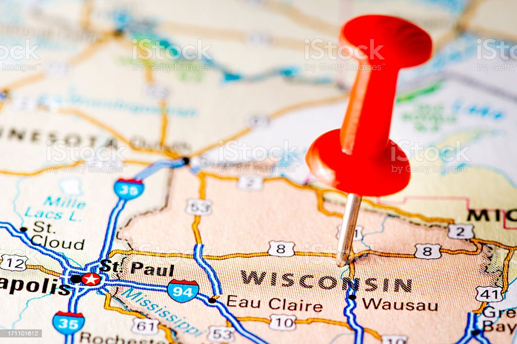 USA states on map: Wisconsin royalty-free stock photo