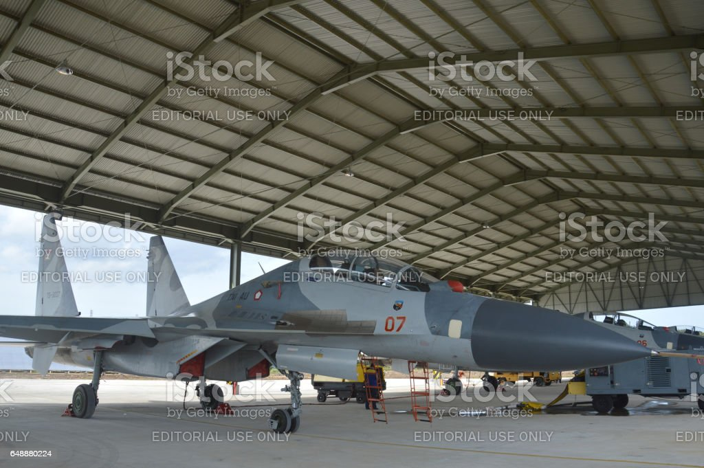 static show Sukhoi aircraft of the Indonesian Air Force stock photo