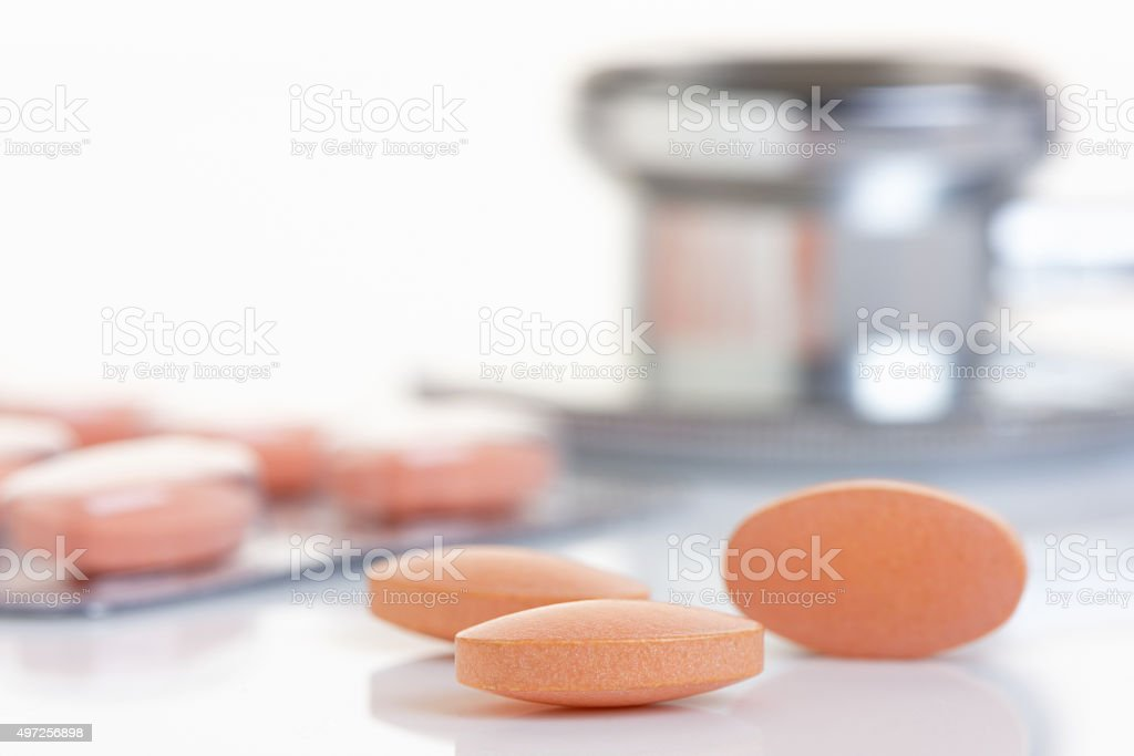Statin Tablet in Close Up stock photo