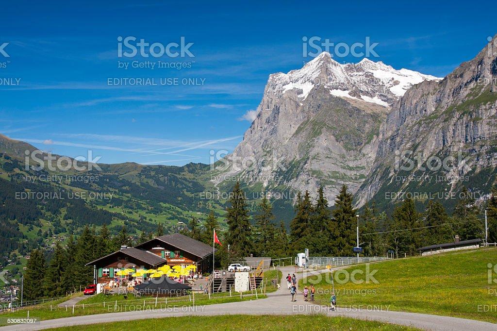 Station Brandegg and Wetterhorn, Swiss Alps stock photo