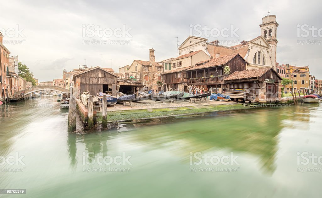 Station for repair gondolas stock photo