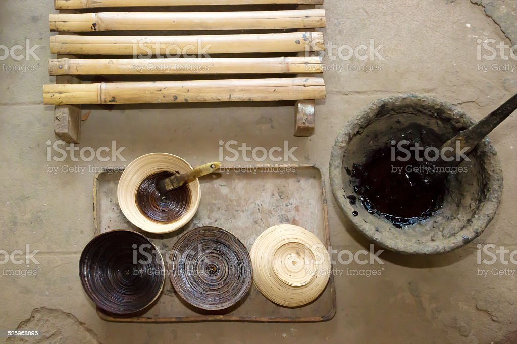 Station for the application of the lacquer, Myanmar stock photo
