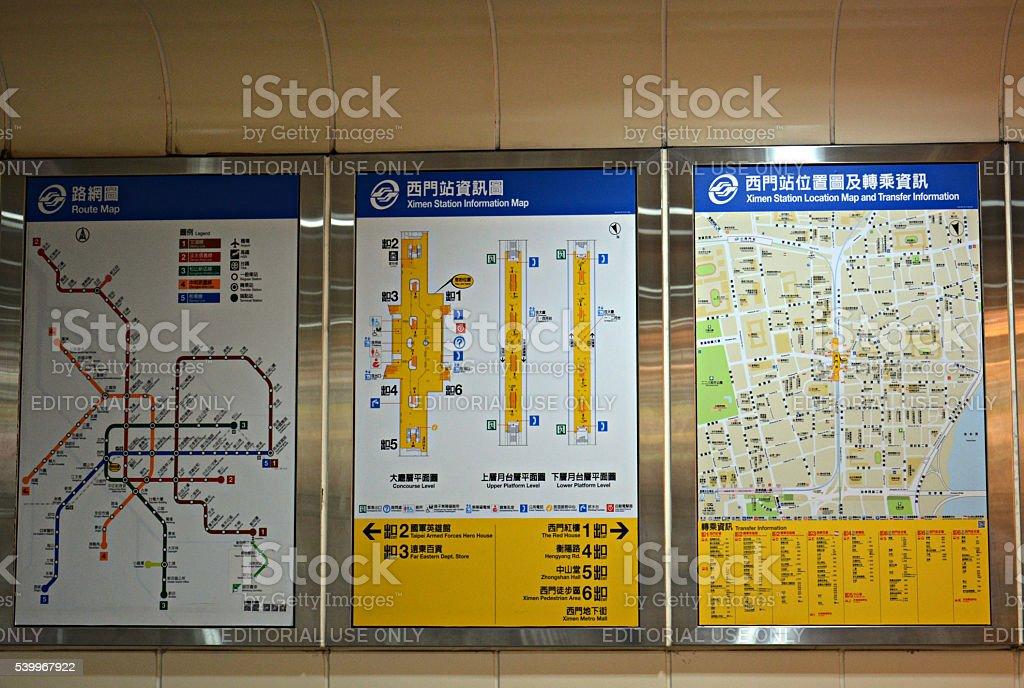 MRT Station Information board, Taipei, Taiwan stock photo