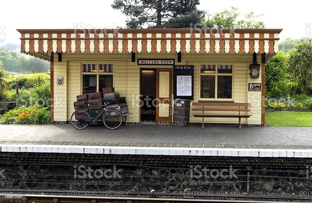 Station platform and waiting room stock photo