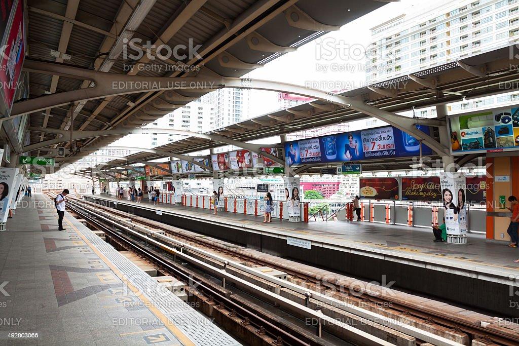 BTS station Ratchathewi in Bangkok stock photo