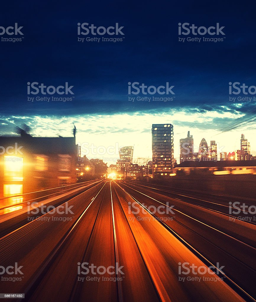 station with fast contemporary train in london stock photo