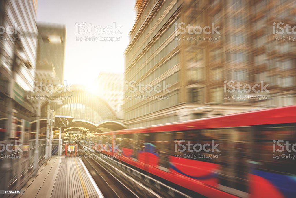 station with fast contemporary train stock photo