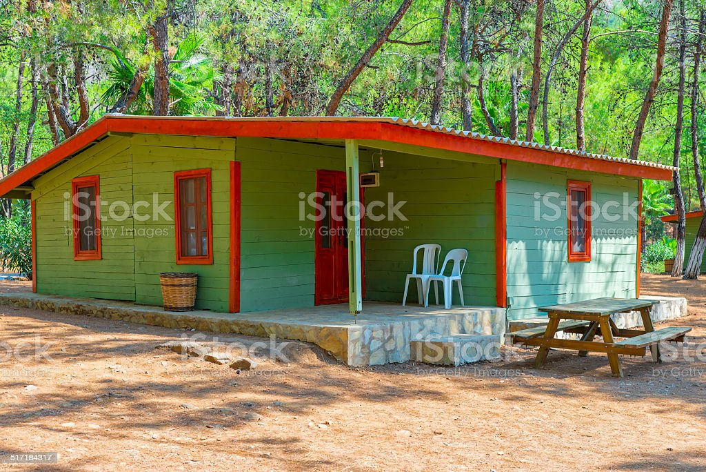 stationary camping is situated in a picturesque location stock photo