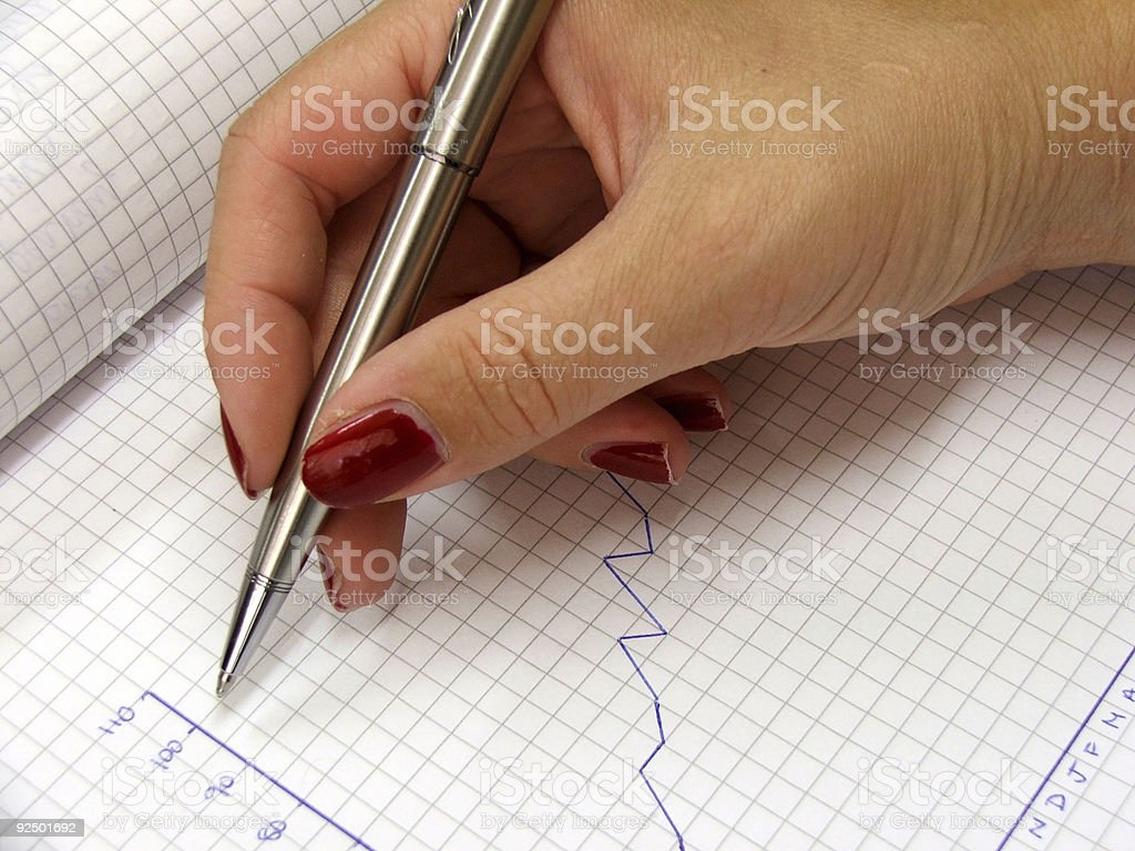 Stationary - drawing a graph royalty-free stock photo