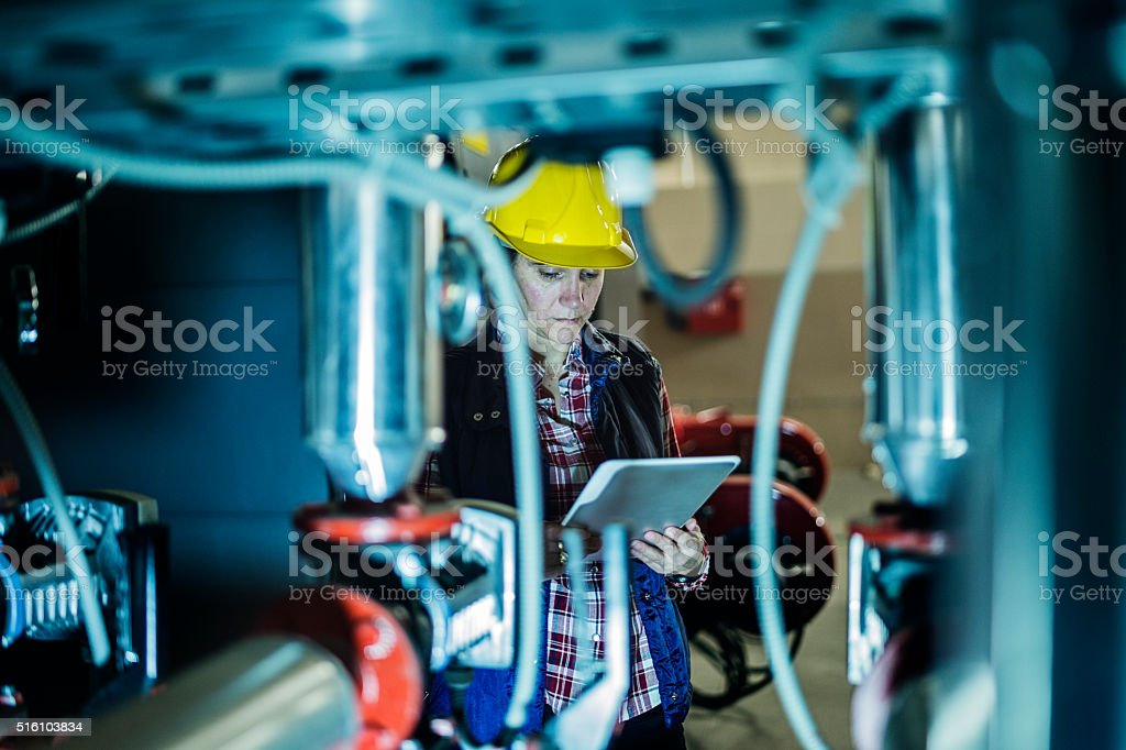 stationary engeneer at work stock photo