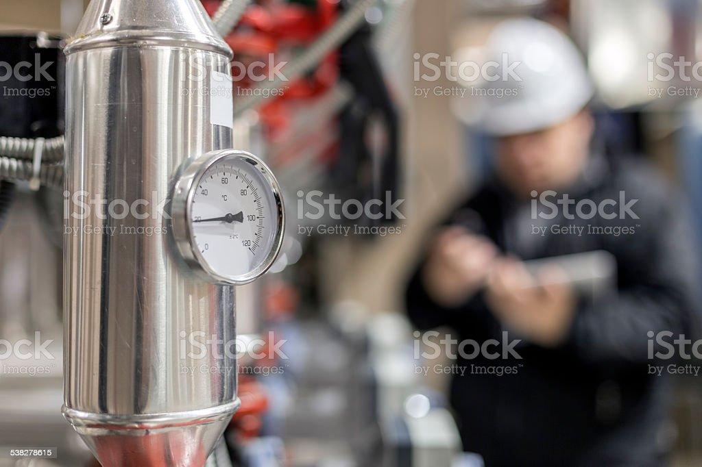 Stationary engeneer at work stock photo