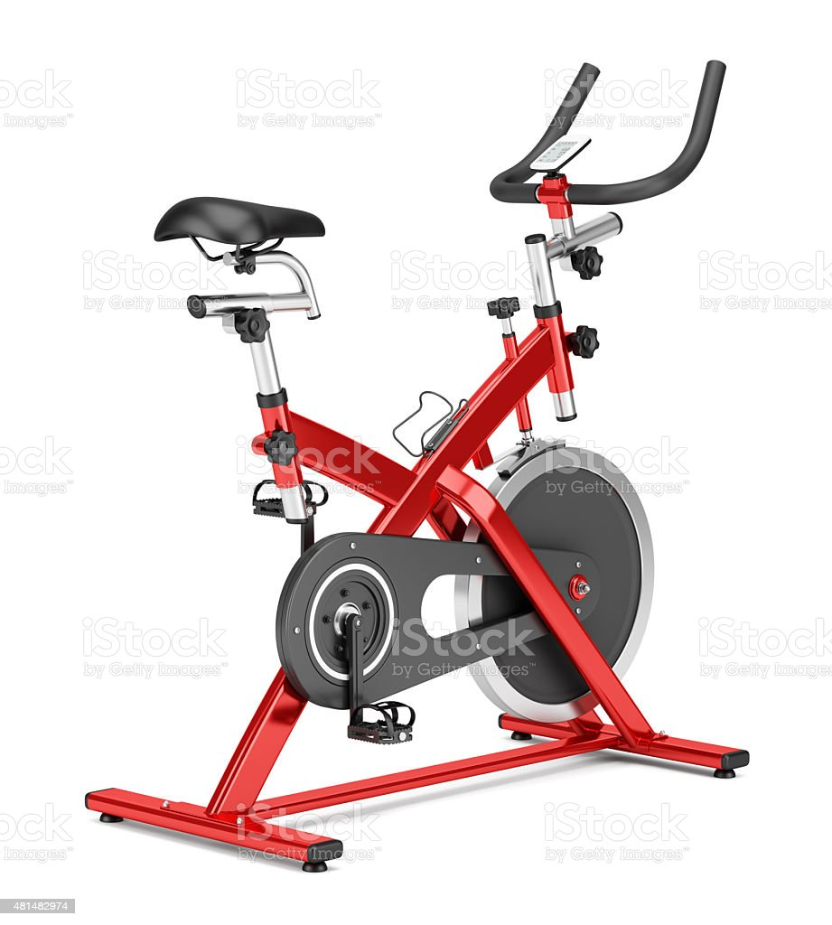 stationary exercise bike isolated on white background stock photo