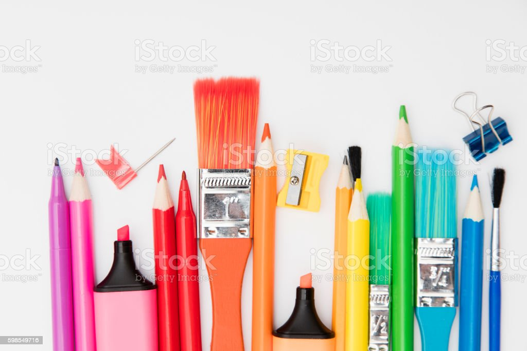 Stationary supplies background stock photo