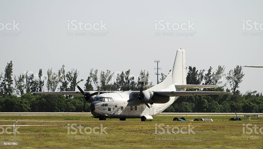Stationary turboprop airplane stock photo