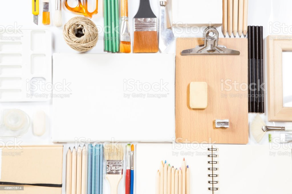 Stationery and painting equipment stock photo