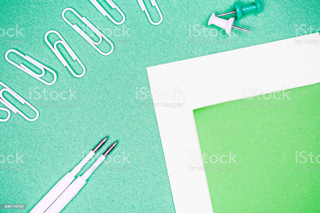 Stationery background with pins stock photo