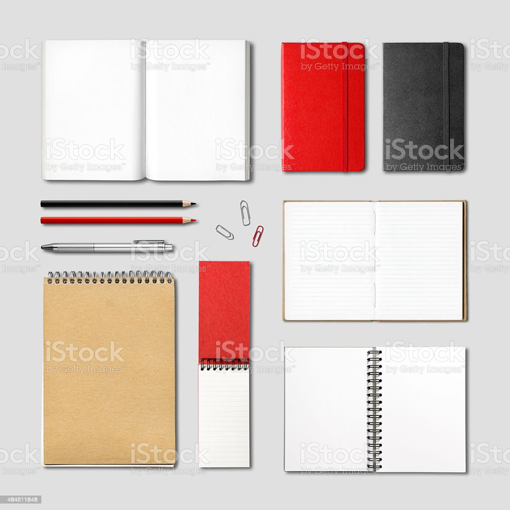 stationery books and notebooks mockup stock photo