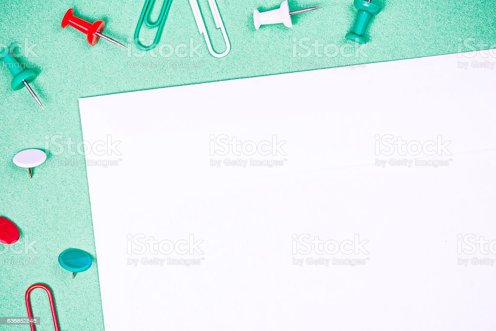 Stationery copyspace with pins and clips stock photo