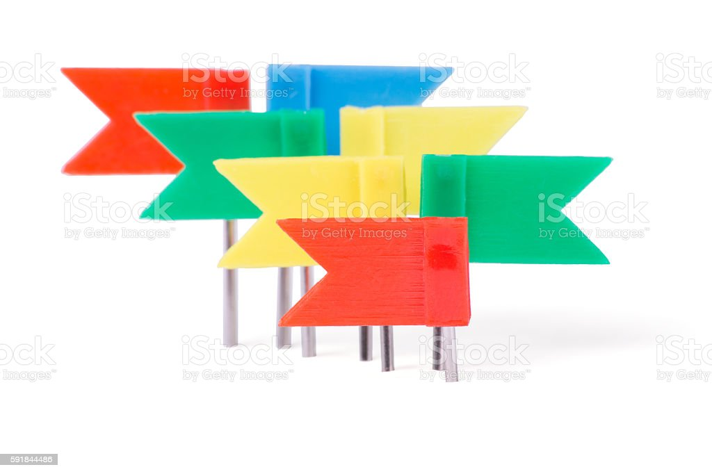Stationery flags in different colors stock photo