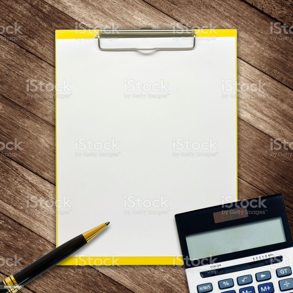 stationery office equipment on wooden background stock photo