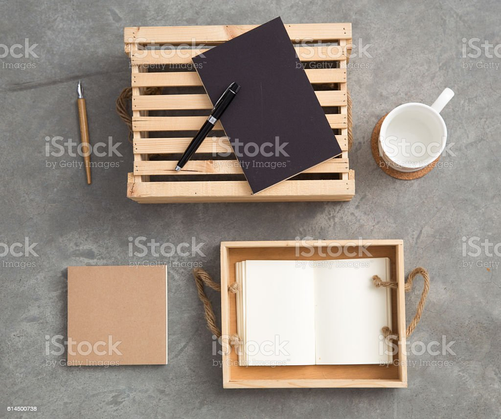 Stationery on a cabinet stock photo