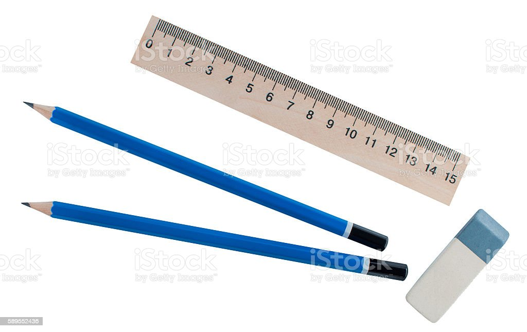Stationery - Ruler, eraser and two simple pencil. stock photo