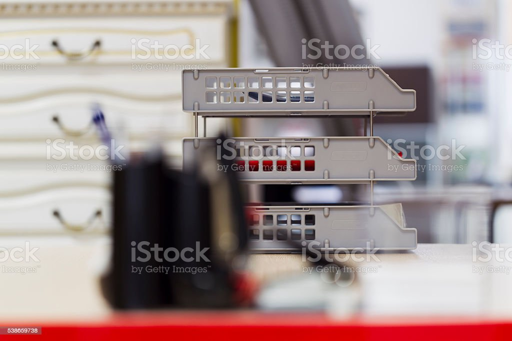 Stationery set against a background of office interior stock photo