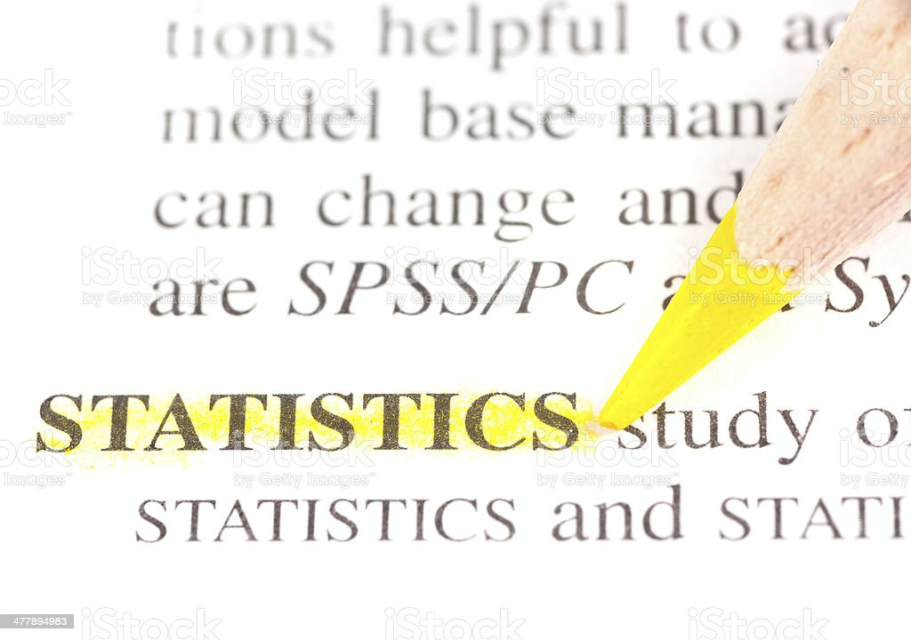 statistics definition highligted in dictionary stock photo