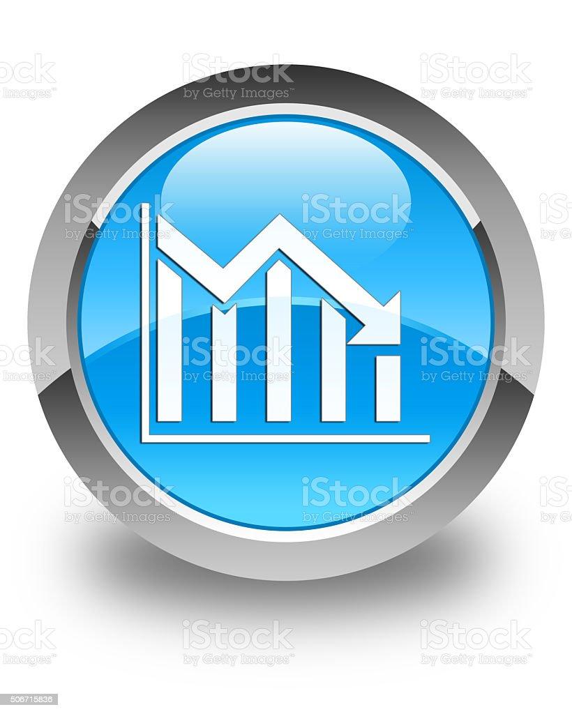 Statistics down icon glossy cyan blue round button stock photo