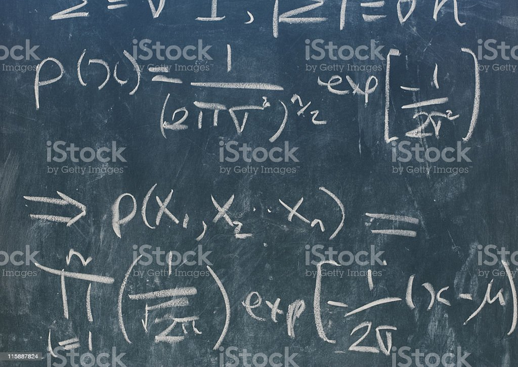 Statistics formula in white chalk in green chalkboard royalty-free stock photo