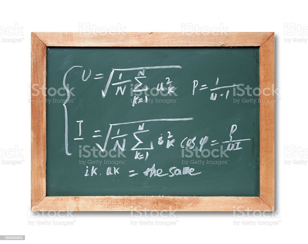 Statistics formula on chalkboard royalty-free stock photo