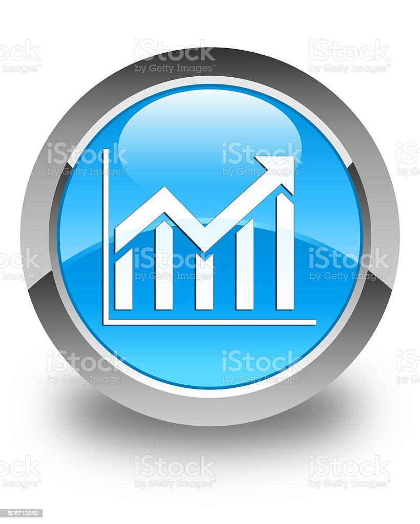 Statistics icon glossy cyan blue round button stock photo
