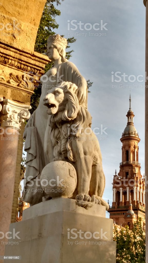 Statuary park Plaza de España with North Tower Seville Spain stock photo