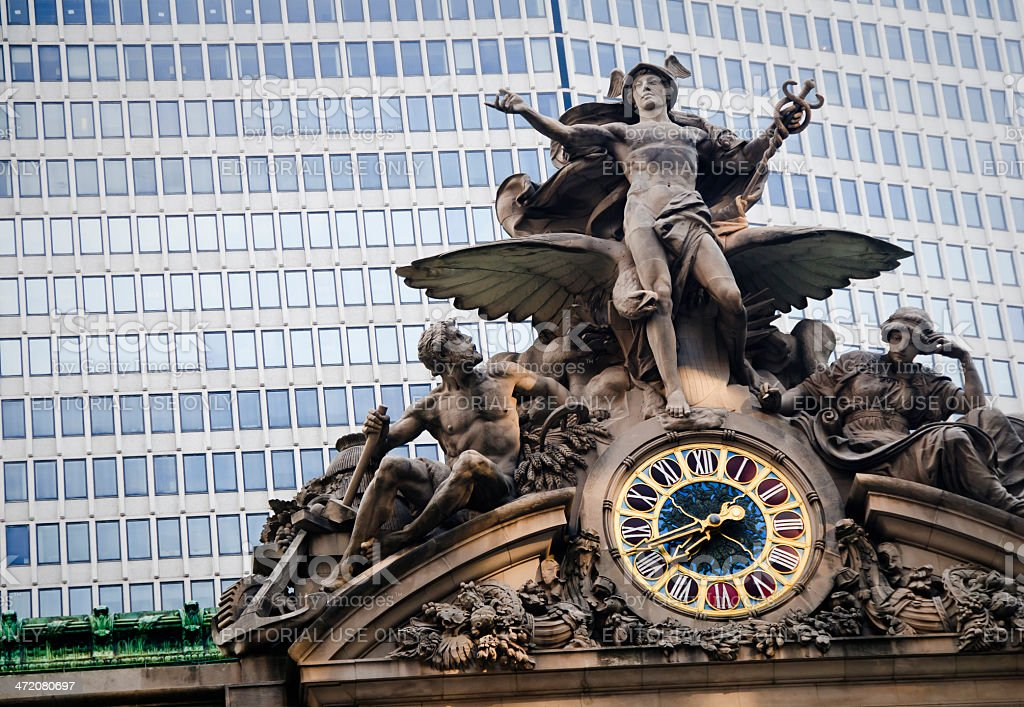 Statue above Grand Central Station stock photo