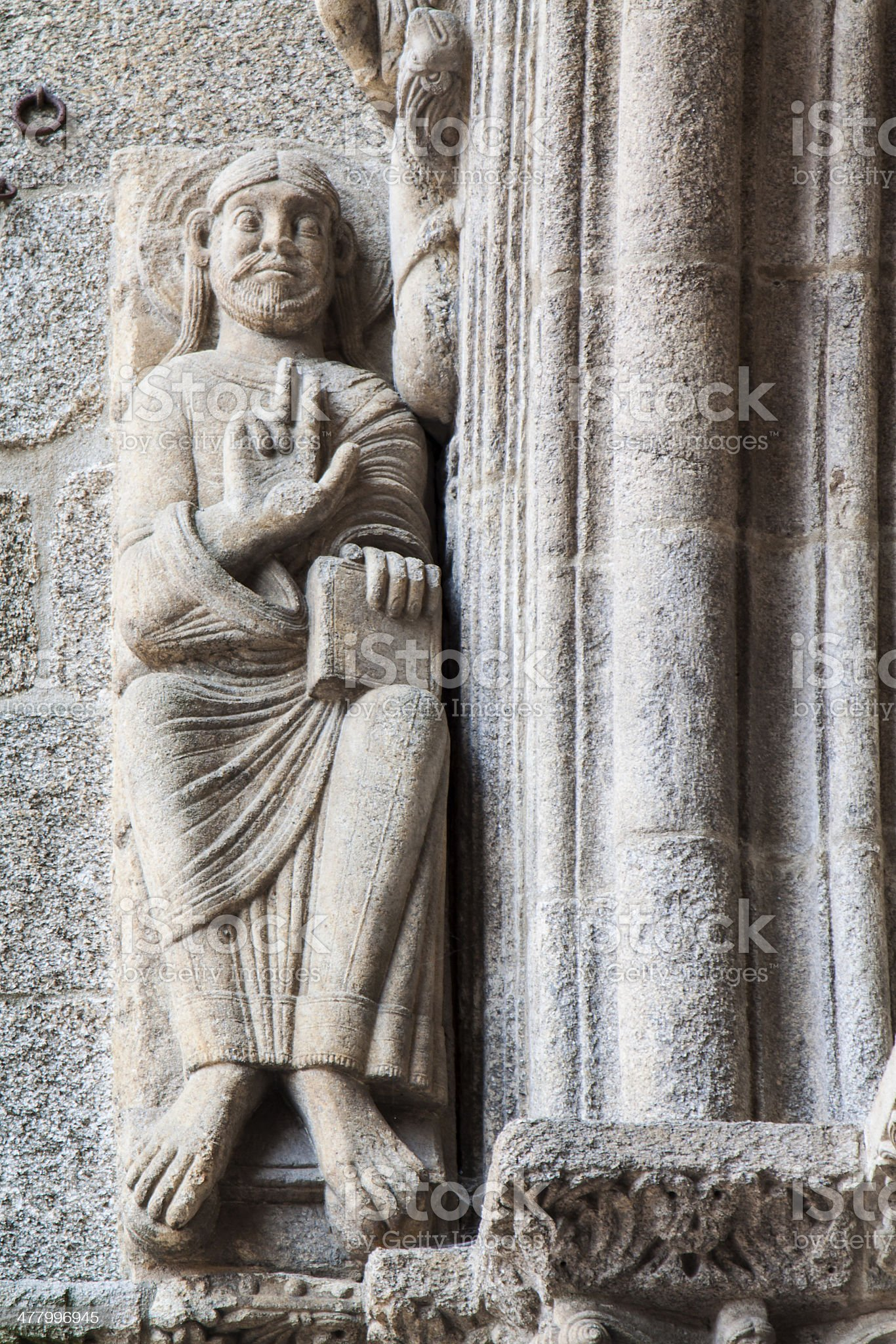 Statue and architecture details at Santiago Cathedra royalty-free stock photo