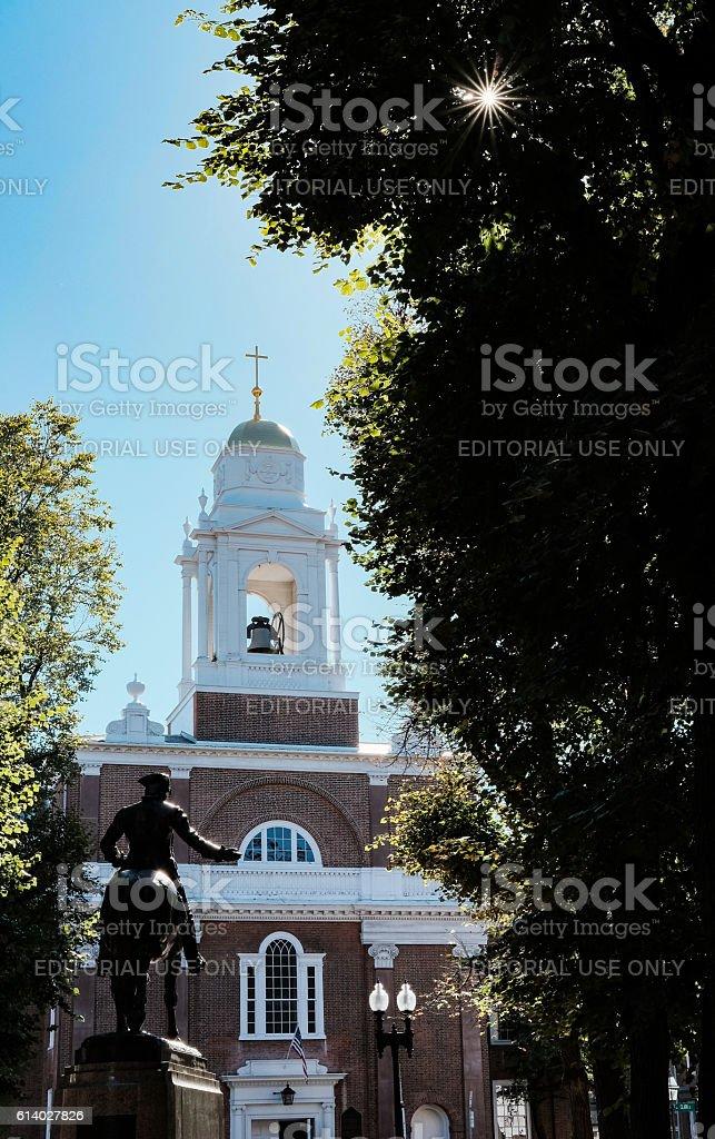 Statue and Church in central Boston, MA, USA stock photo