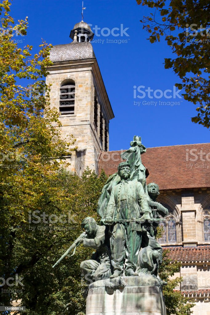 Statue and Church of St Saveur, Figeac, Lot, France stock photo
