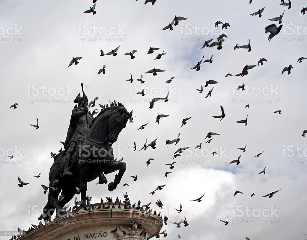 Statue and Flying Pigeons royalty-free stock photo