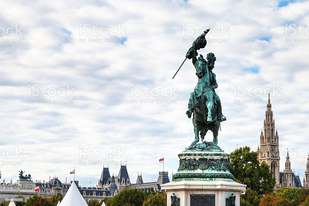 statue Archduke Charles view of Rathaus in Vienna stock photo