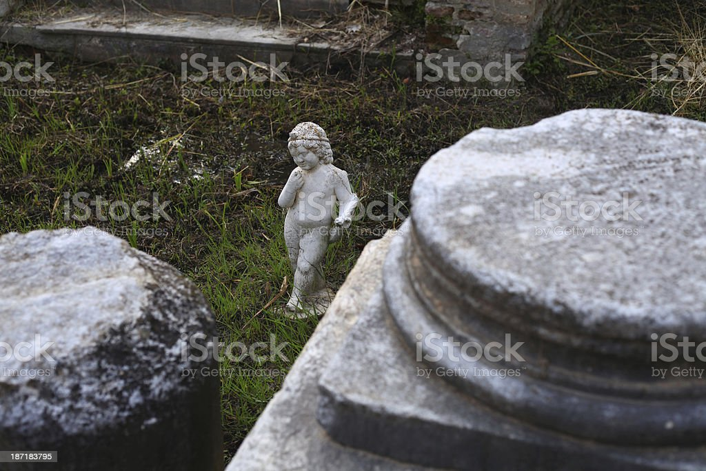 Statue at ancient Dion stock photo