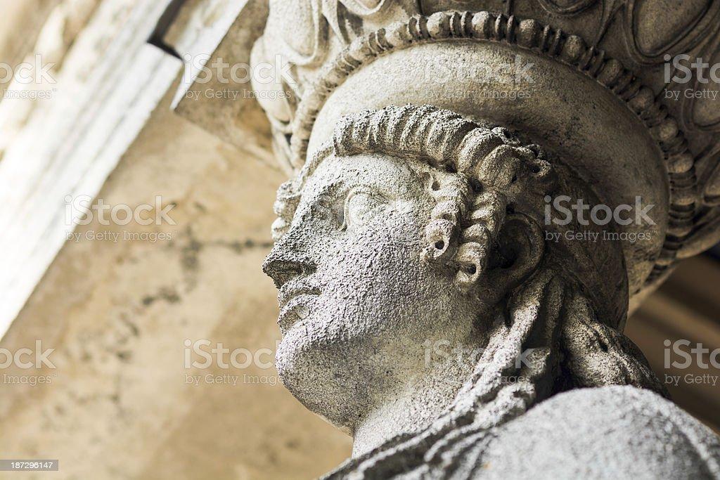 Statue at base of Friedensengel in Munich, Germany stock photo