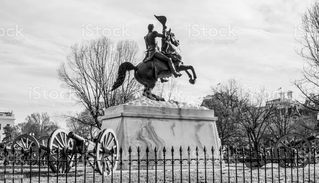 Statue at Lafayette Square in front of the White House stock photo