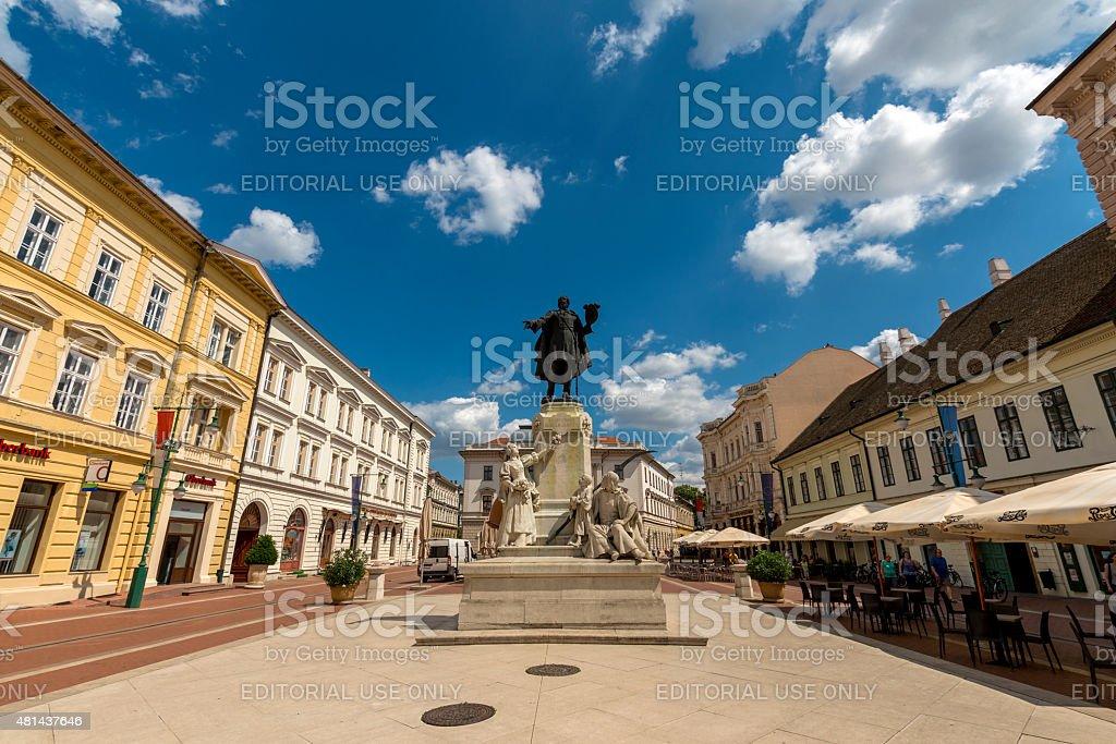 Statue at public sqare in Hungary stock photo