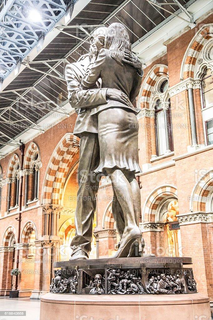 Statue at St. Pancras International Railway Station, London stock photo